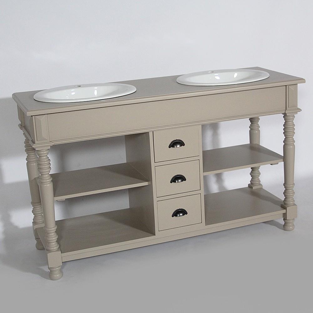 Meuble salle de bain bois massif taupe 02 le blog d co for Salle bain meuble bois