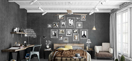 inspirations pour une d co de chambre style industriel. Black Bedroom Furniture Sets. Home Design Ideas