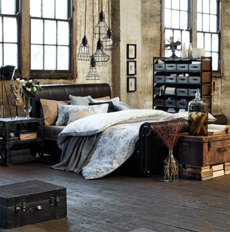 inspirations pour une d co de chambre style industrielle. Black Bedroom Furniture Sets. Home Design Ideas