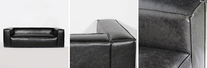 canape noir 3 places