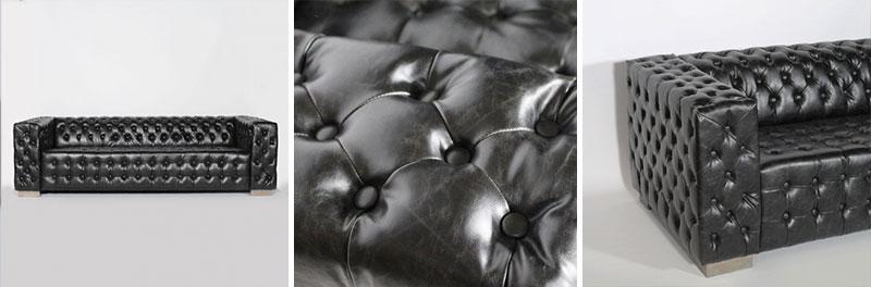canape noir capitons
