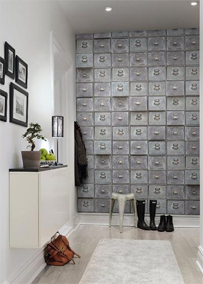 Id es d co pour une entr e style loft industriel for Papier peint entree sombre