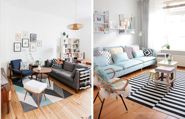 Id es d co pour un salon style scandinave made in meubles - Deco industrielle scandinave ...