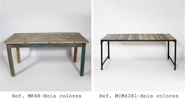 table industriel bois colore