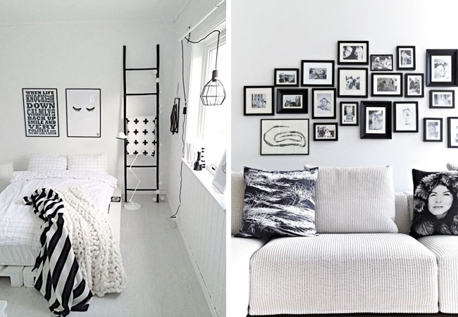 Conseils d co pour un salon blanc total look made in meubles - Mur de photos noir et blanc ...