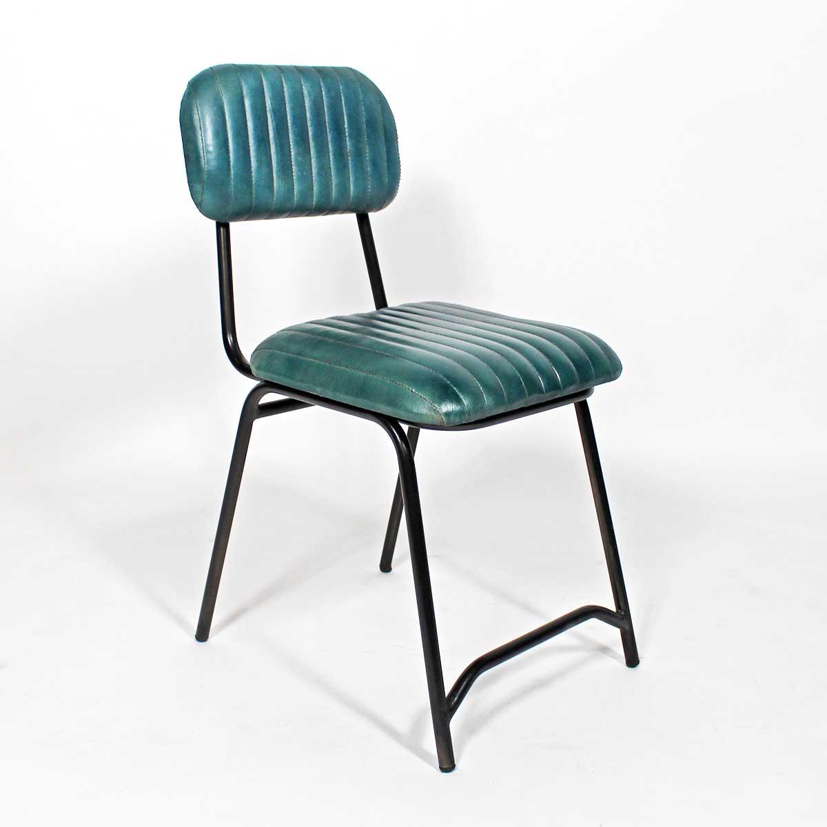 chaise cuir diner bleu