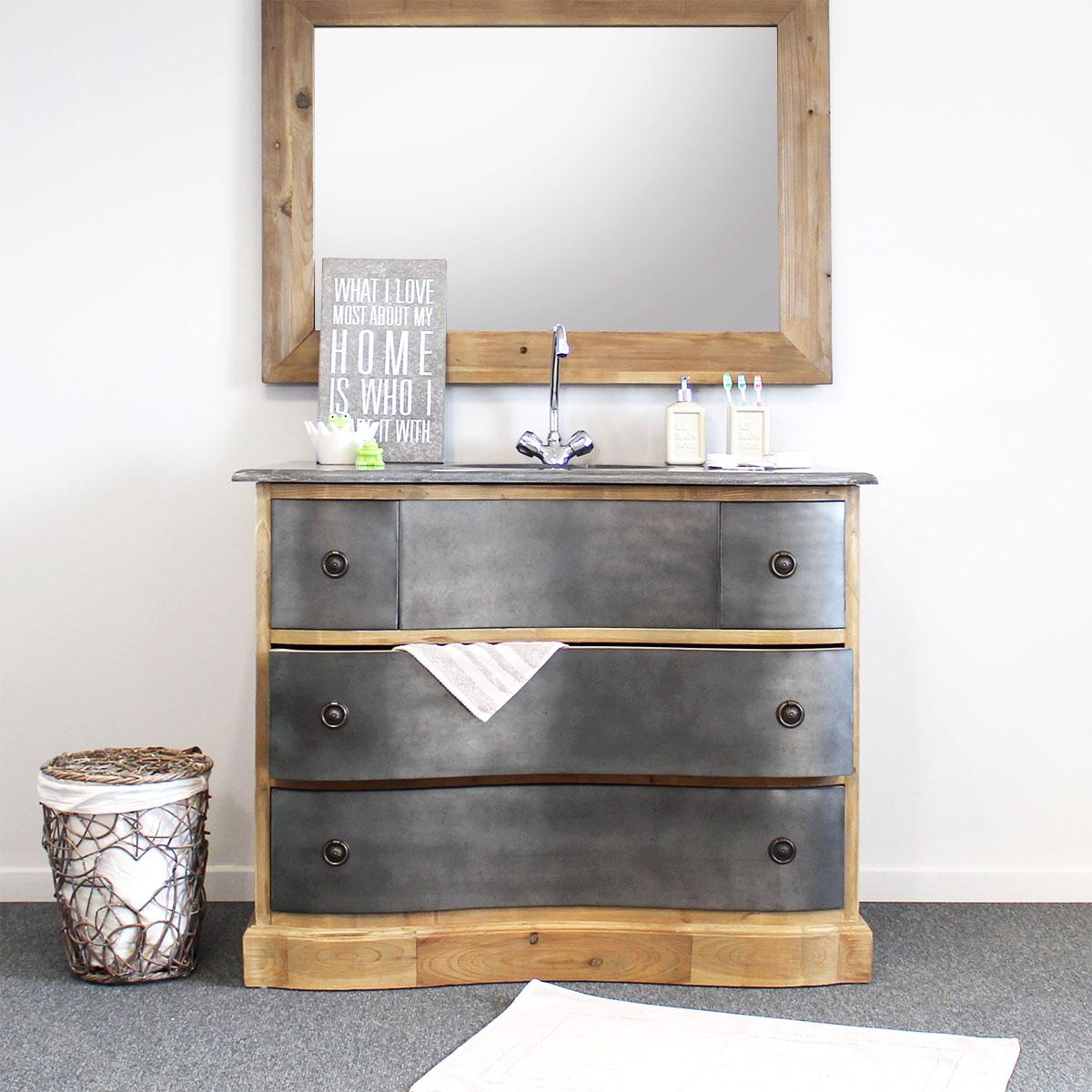 meuble salle de bain bois metal gris