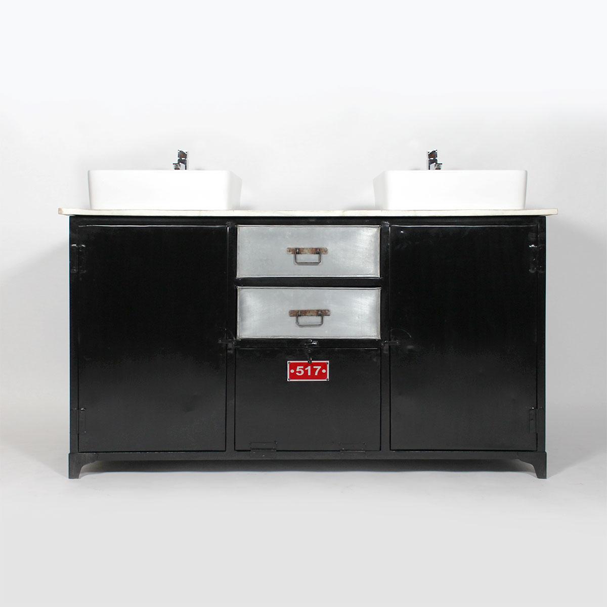 meuble salle de bain industriel-metal noir casier gris vintage