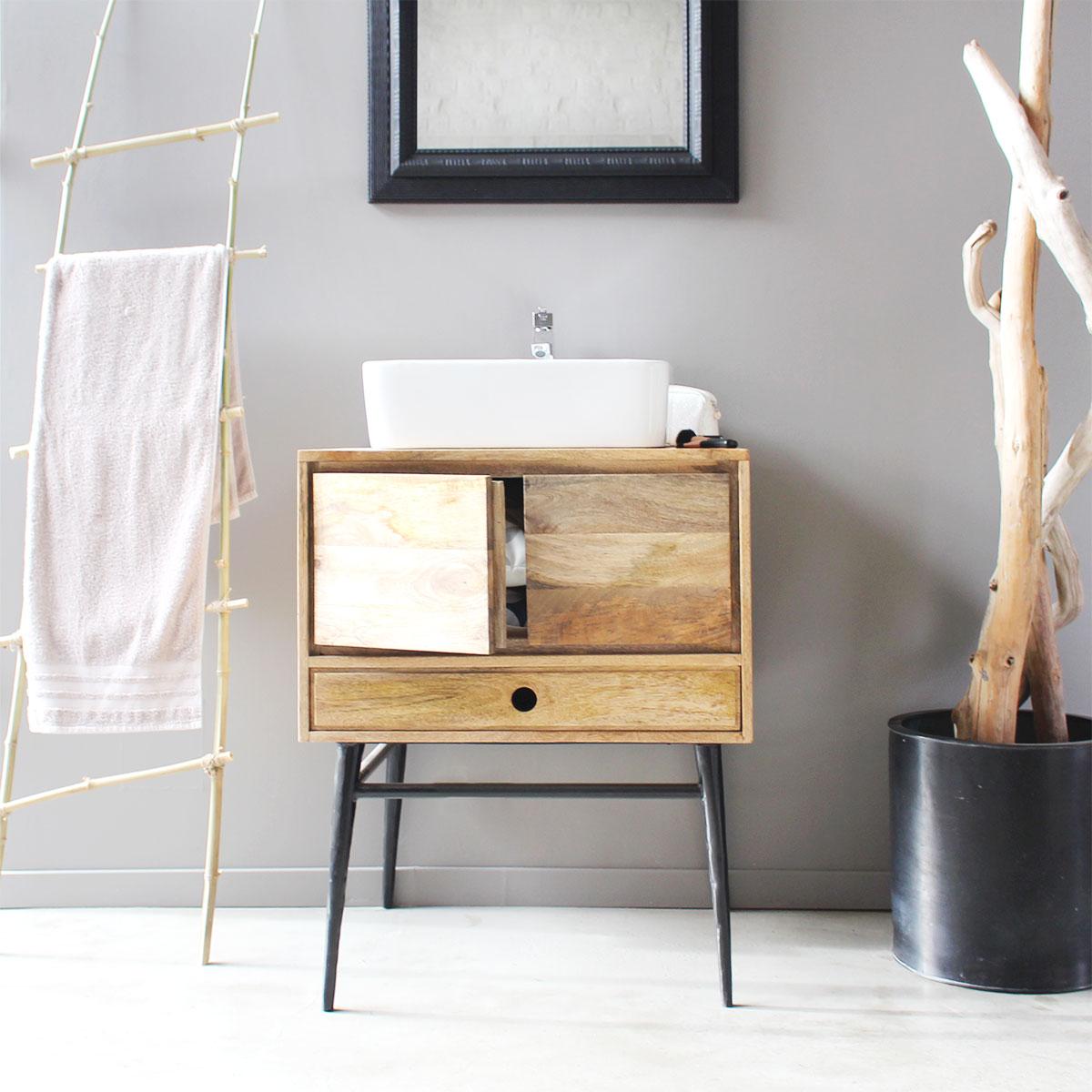 meuble sdb industriel bois metal noir retro