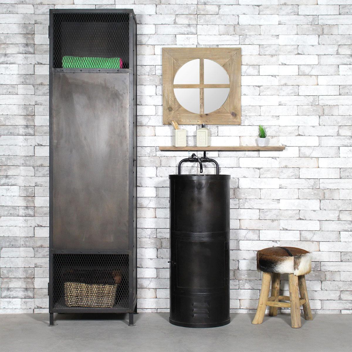 meuble salle de bain industriel-metal noir original tendance lavabo indus