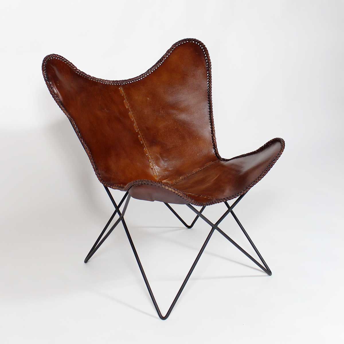 fauteuil papillon cuir marron