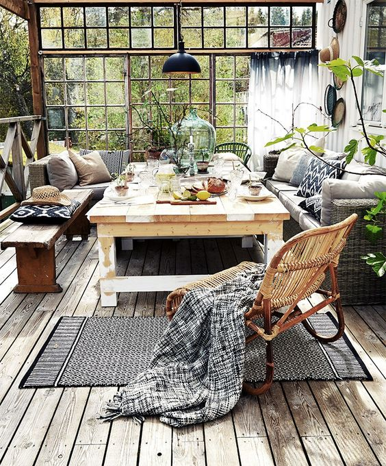 veranda tendance cosy cocooning