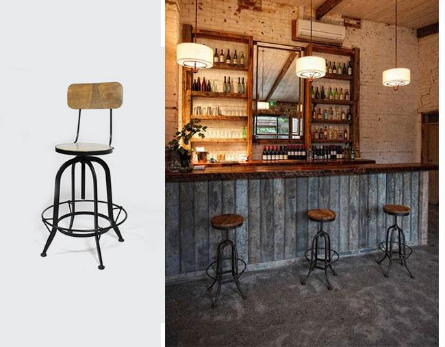 tabouret de bar en metal vintage