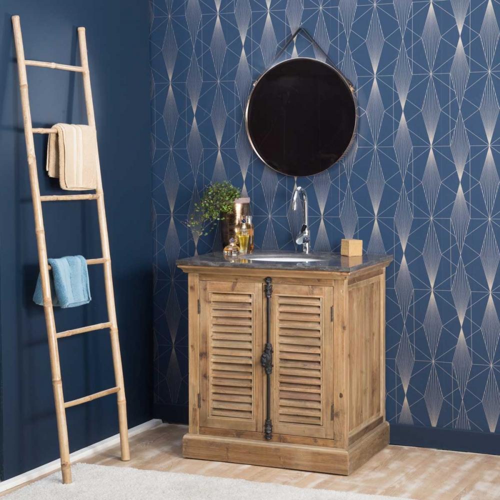Meuble de salle de bain pierre et bois