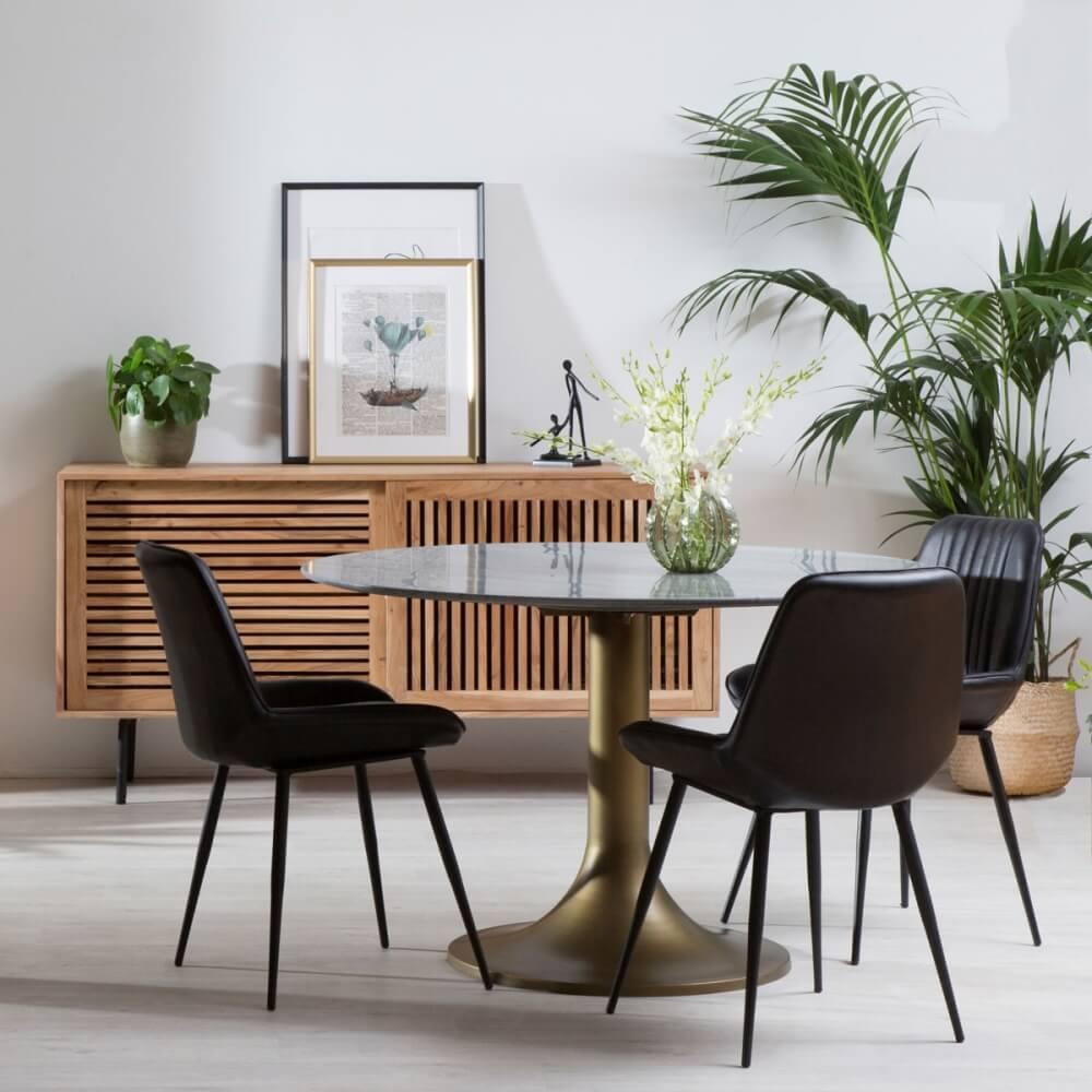 Table ronde avec un plateau en marbre style contemporain
