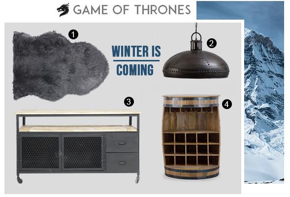 Ensemble de meubles pour réaliser les décors de Game of Thrones