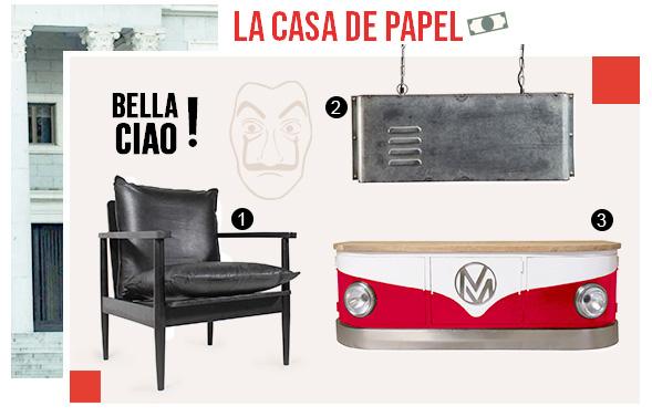 Meubles pour réaliser une décoration dans les tendances de la série Casa de Papel