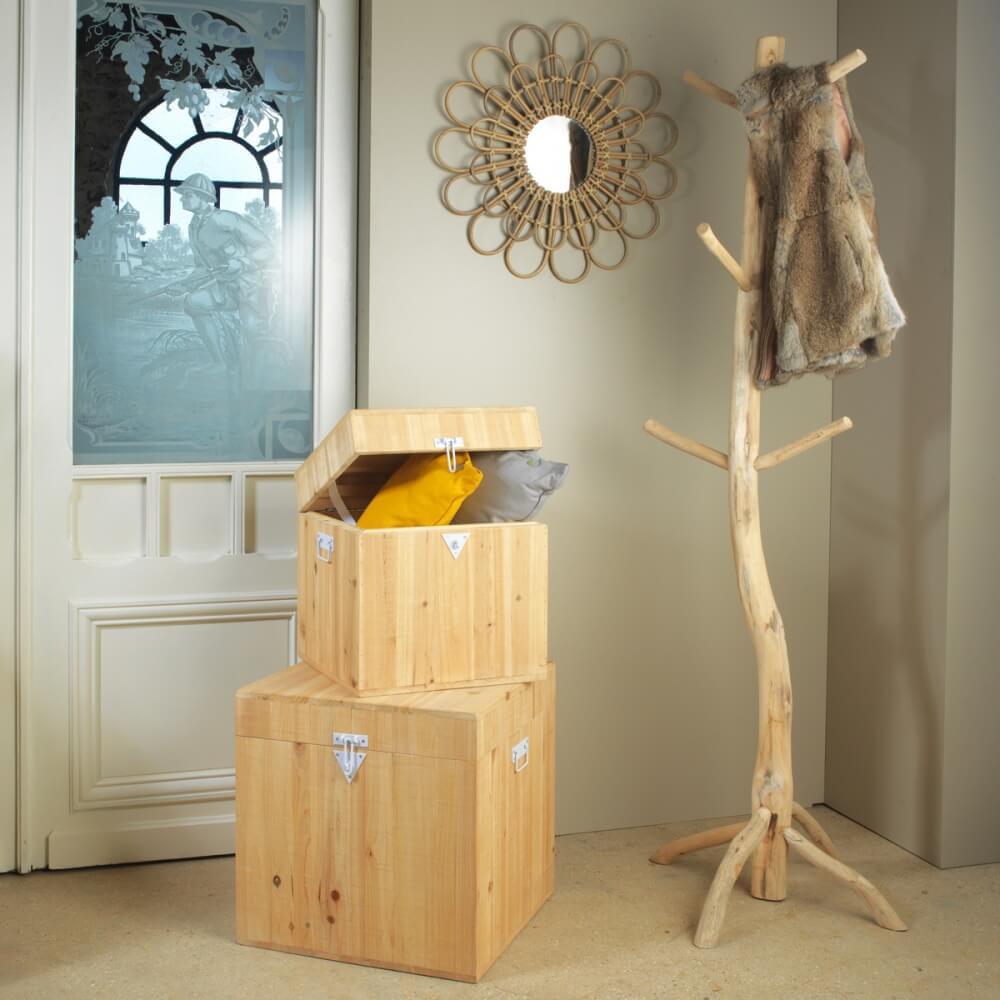 Lot de deux coffres en bois idéal pour ranger et rester organisé
