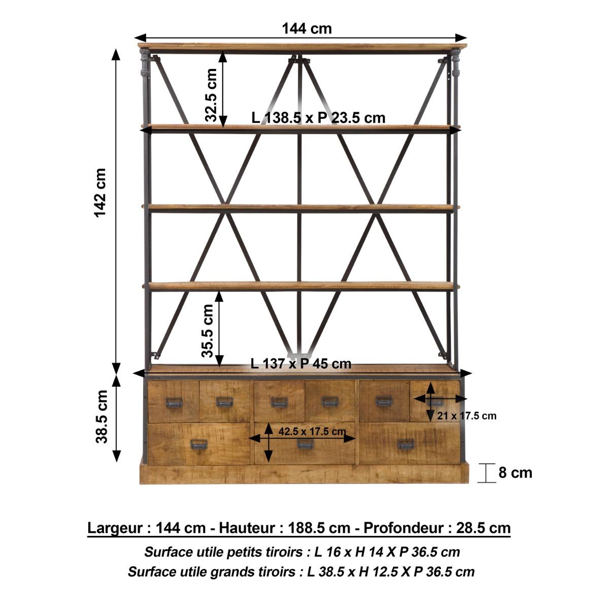 Bibliothèque industrielle dimensions