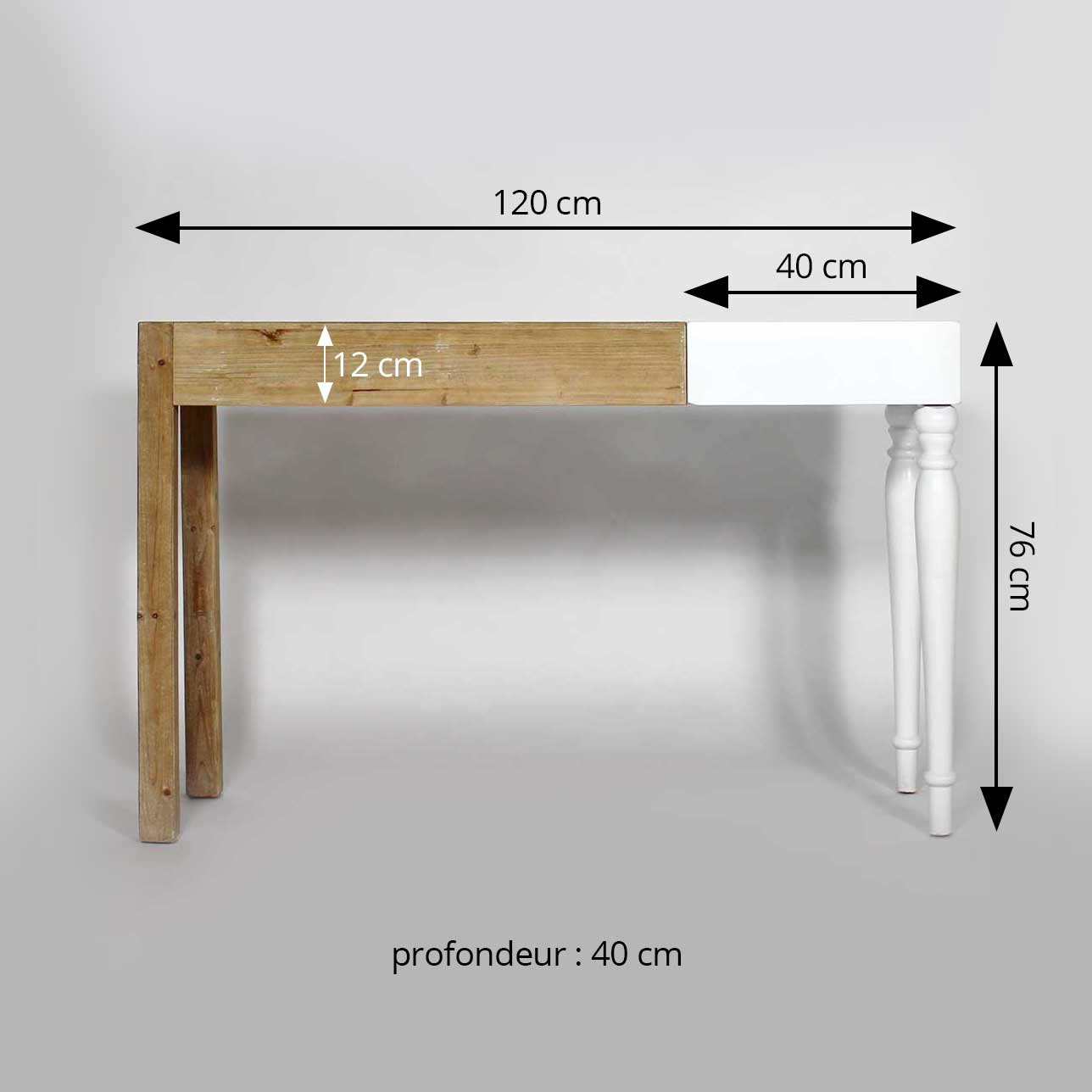 made in meubles console mixte dimensions