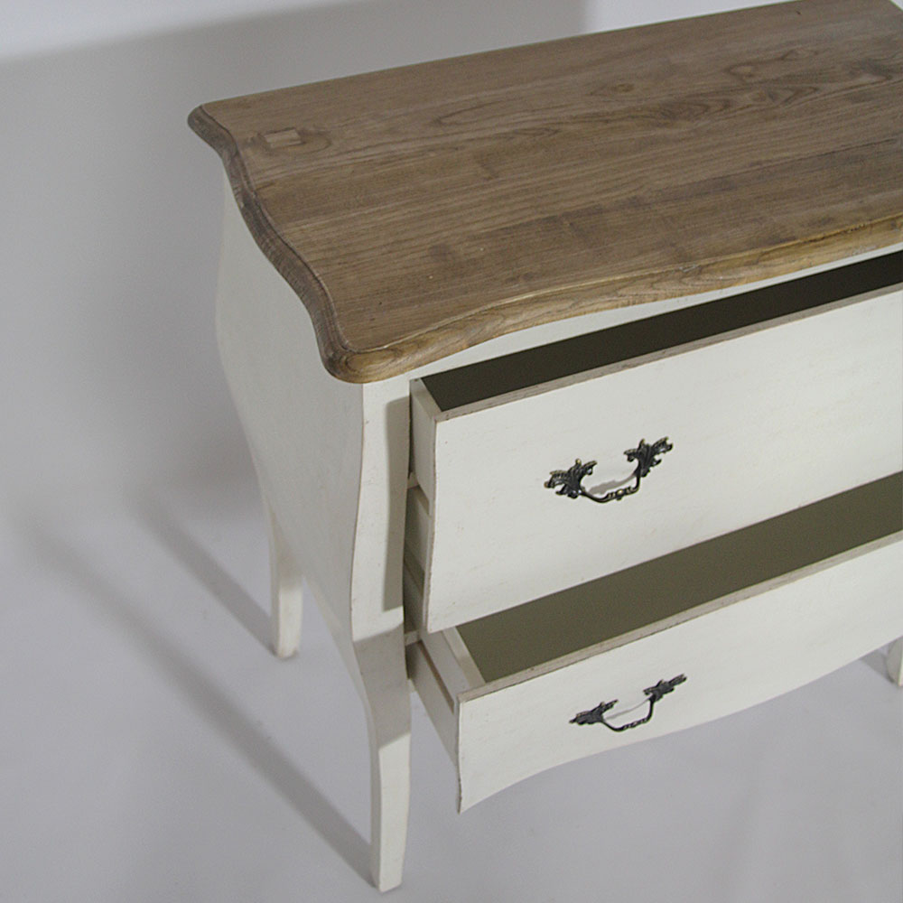 Commode blanche 2 tiroirs