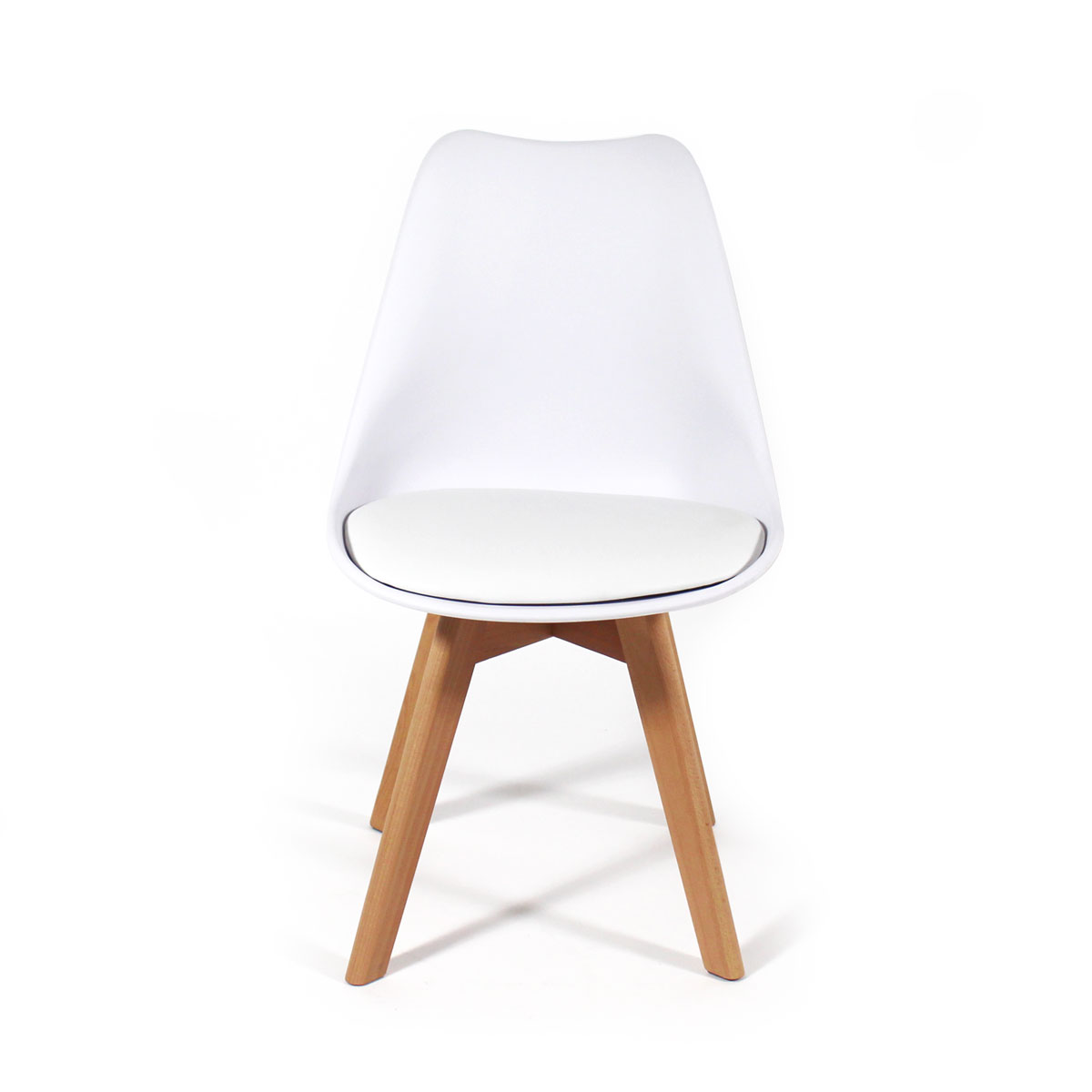 Chaise scandinave pieds hêtre blanche