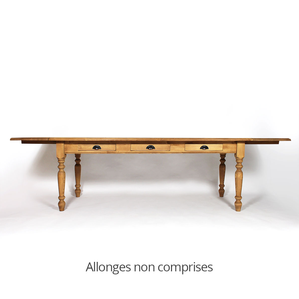 Table de ferme en pin massif ciré miel 180x90
