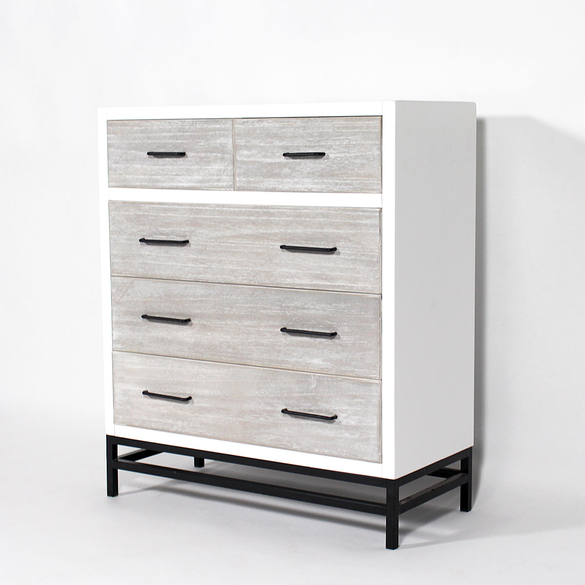 Commode MDF 5 tiroirs style contemporain pieds metal