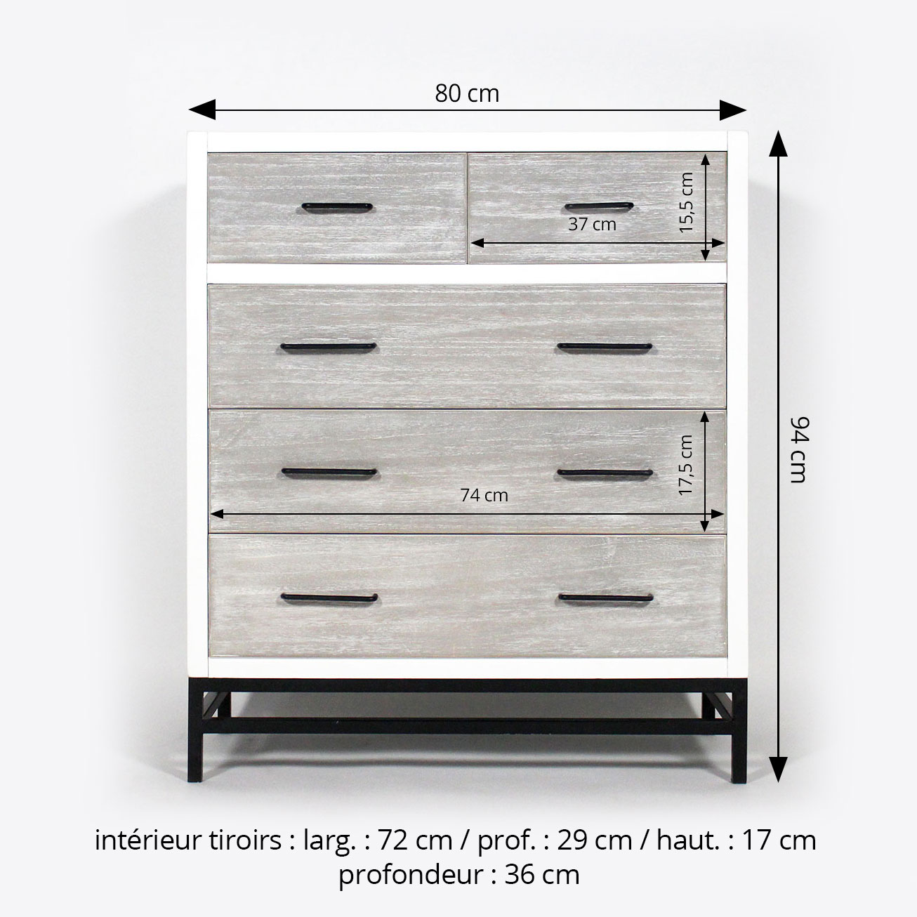 Commode MDF 5 tiroirs style contemporain dimensions