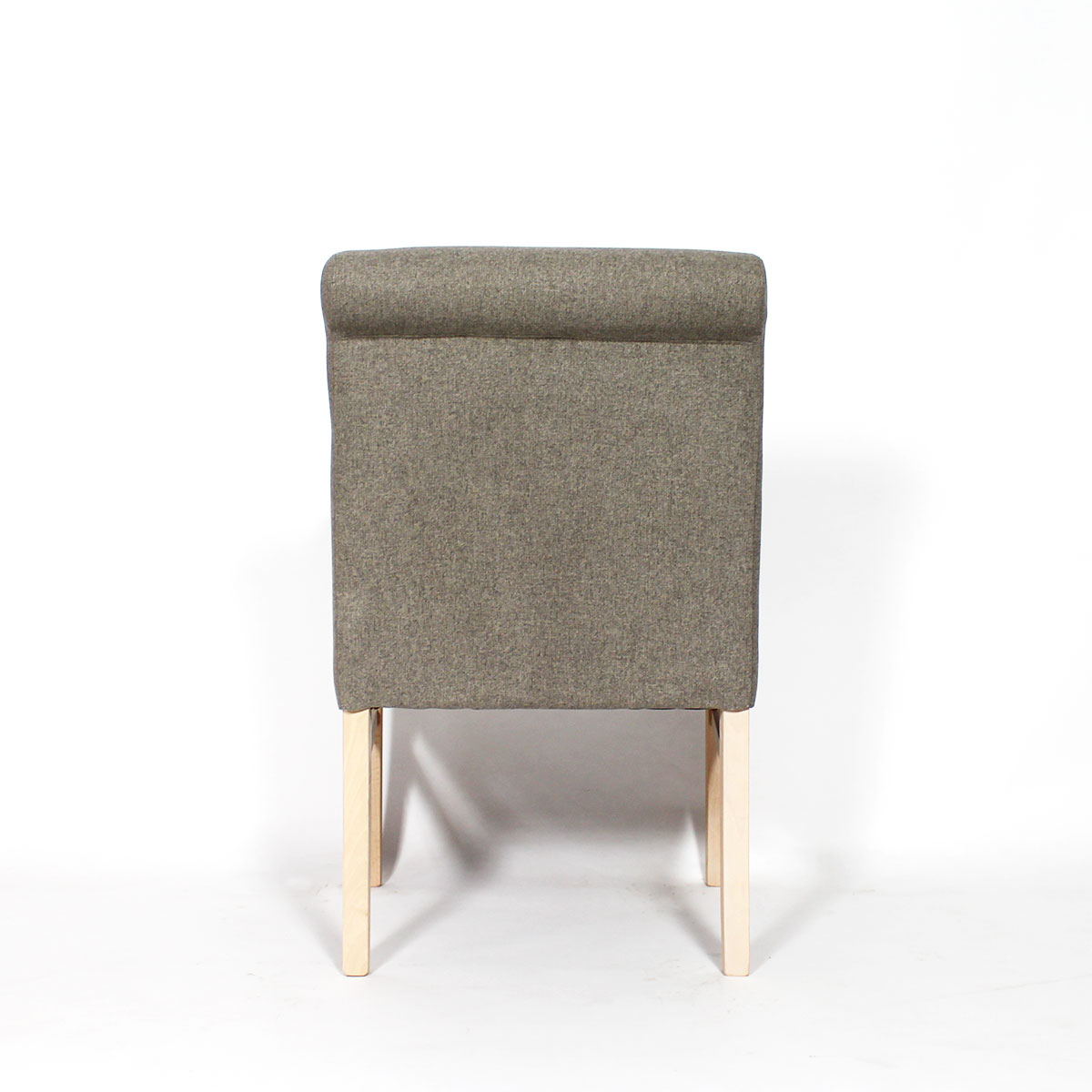 Fauteuil moderne pieds bois massif tissu taupe
