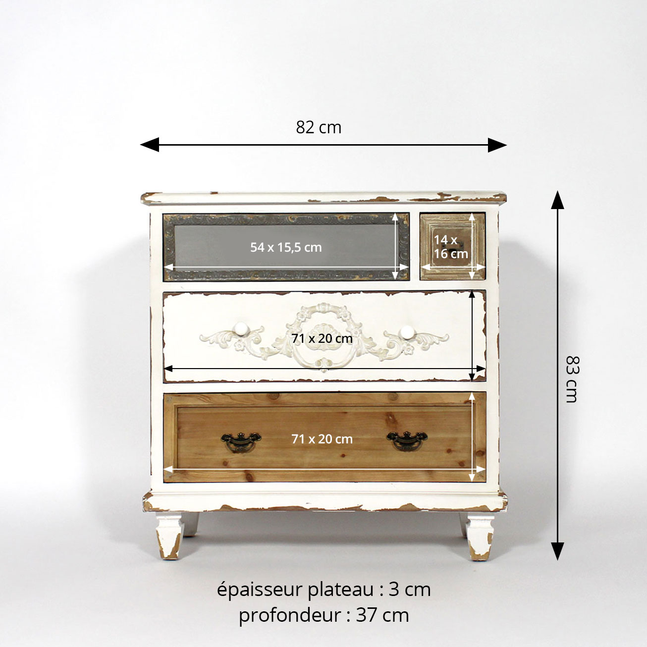 Commode 4 tiroirs style baroque dimensions