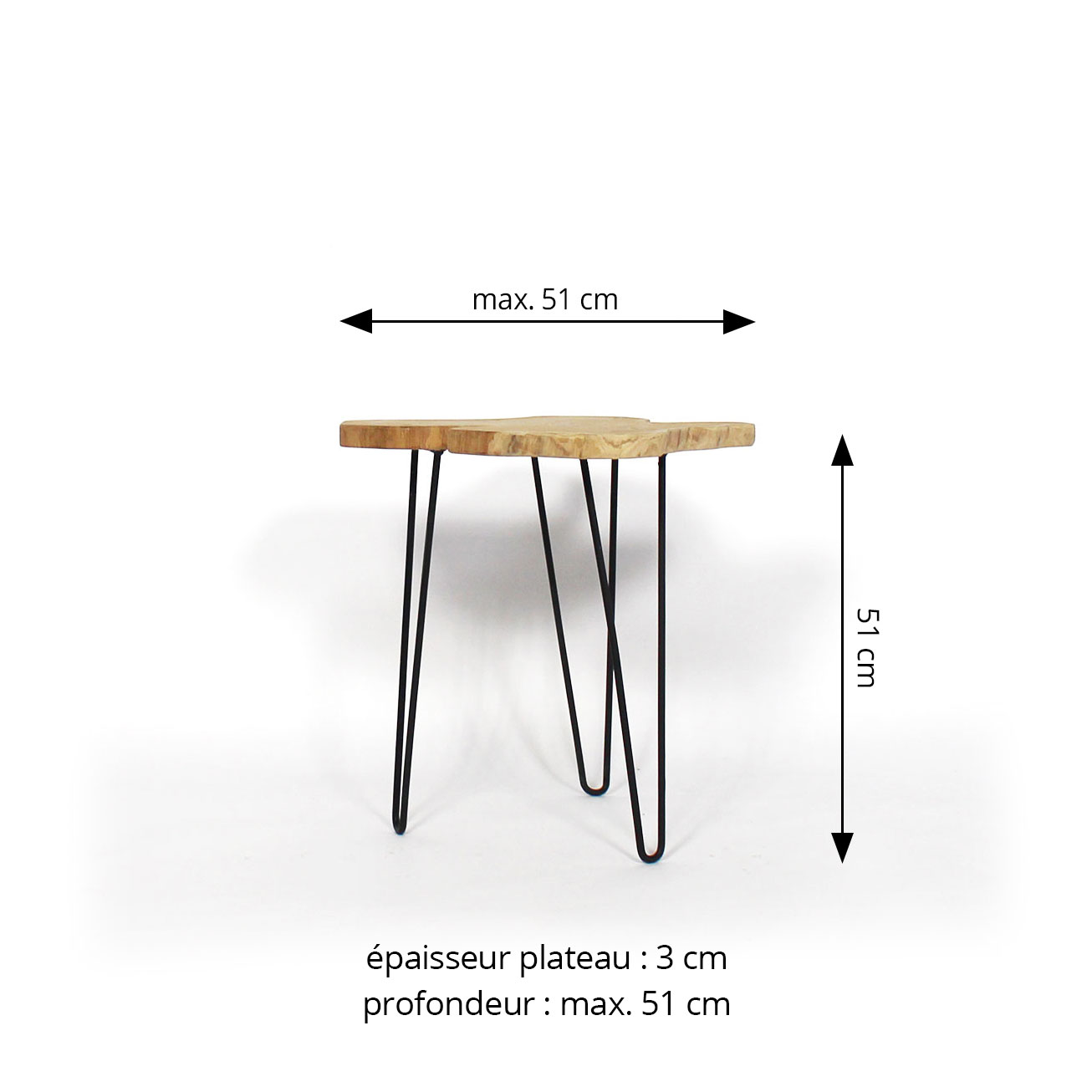 Table d'appoint dimensions