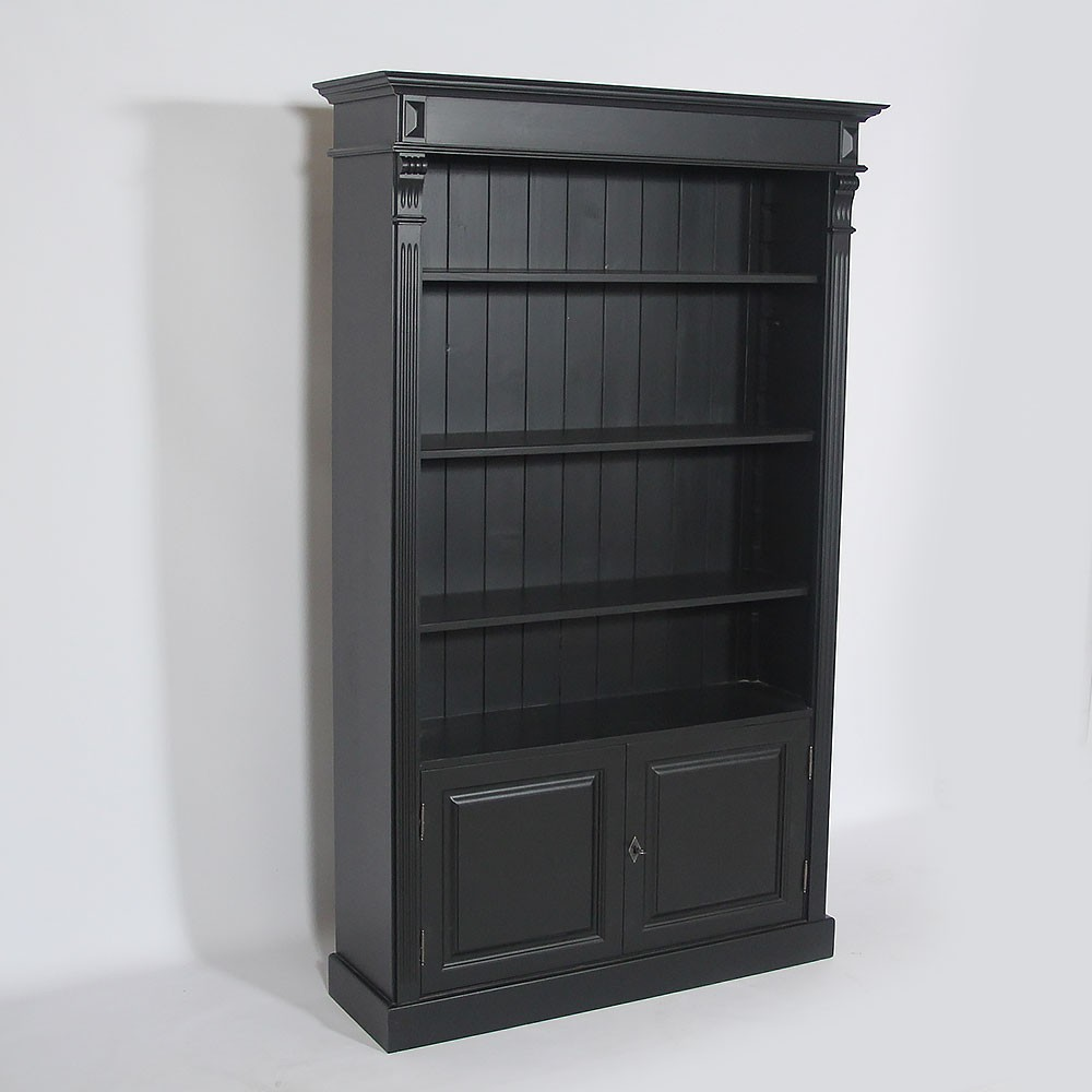 biblioth que bois massif 4 tag res ouvertes noire made in meubles. Black Bedroom Furniture Sets. Home Design Ideas