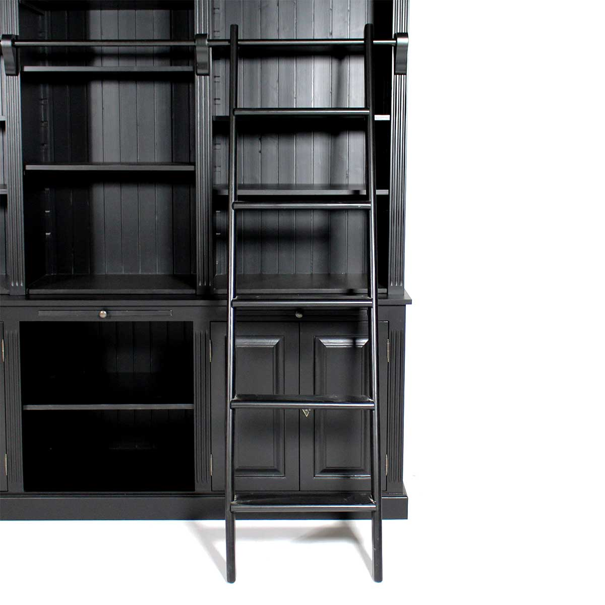 grande biblioth que bois massif noire style librairie. Black Bedroom Furniture Sets. Home Design Ideas