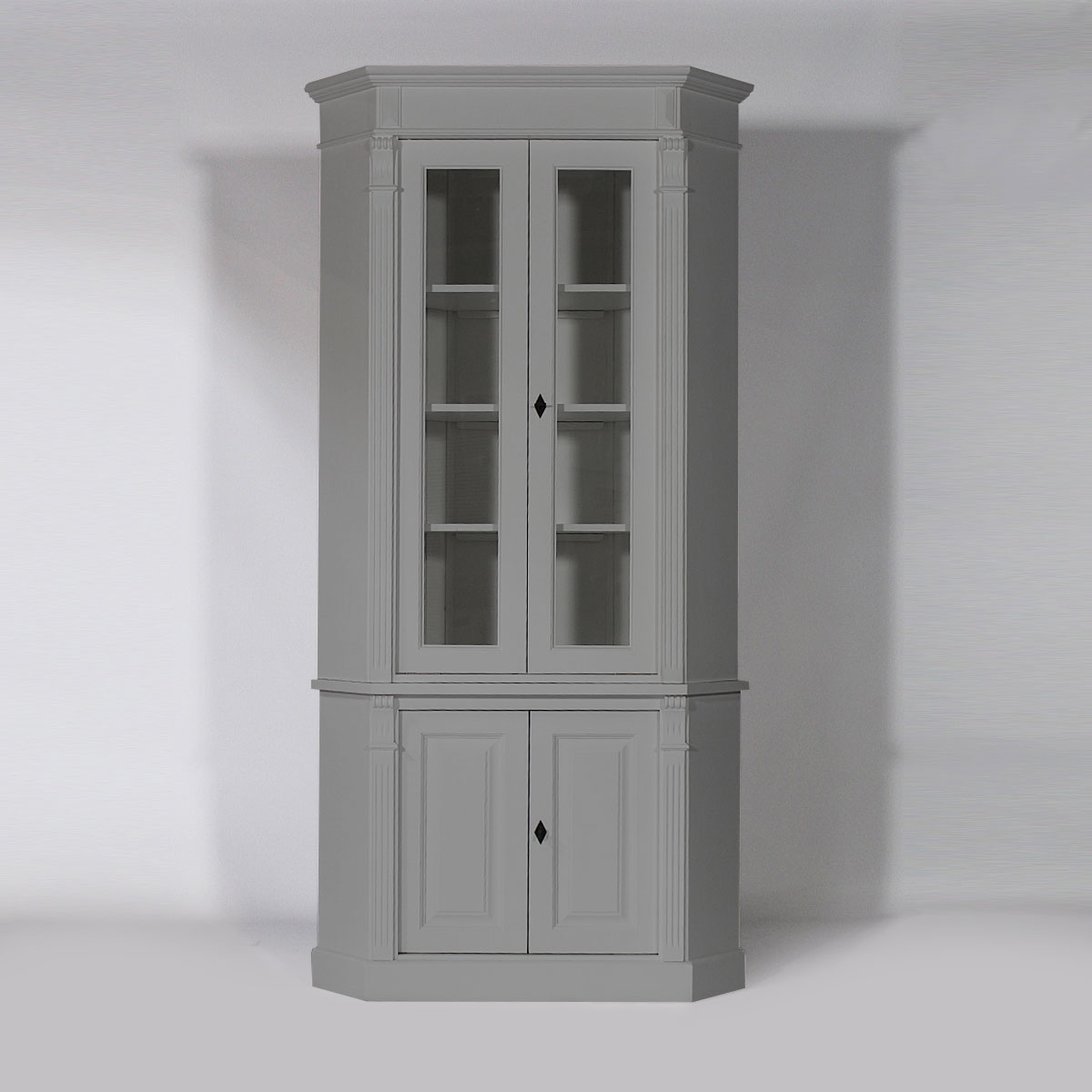 buffet d 39 angle bois massif vitr gris clair 4 portes made in meubles. Black Bedroom Furniture Sets. Home Design Ideas