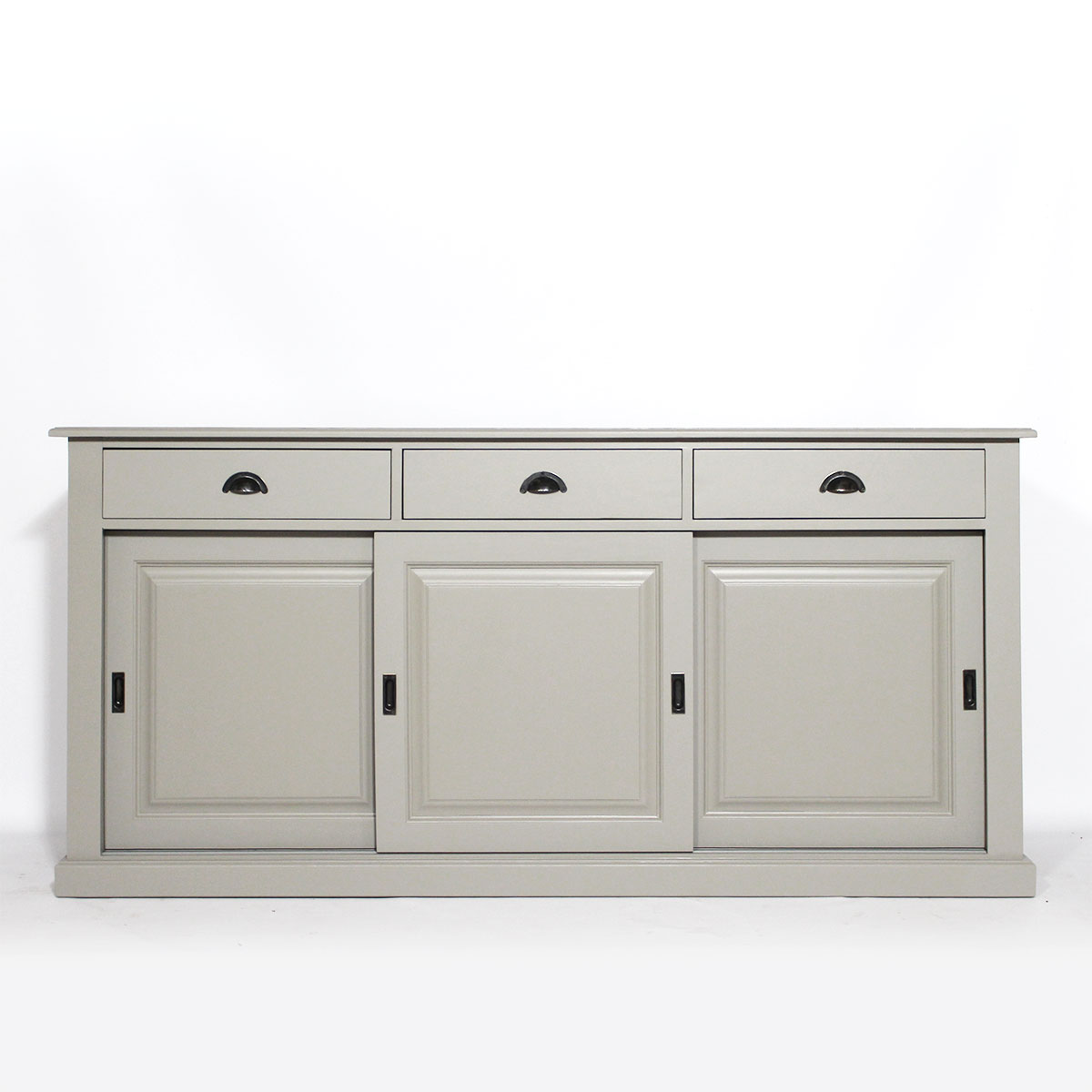 enfilade 3 portes coulissantes gris clair made in meubles. Black Bedroom Furniture Sets. Home Design Ideas
