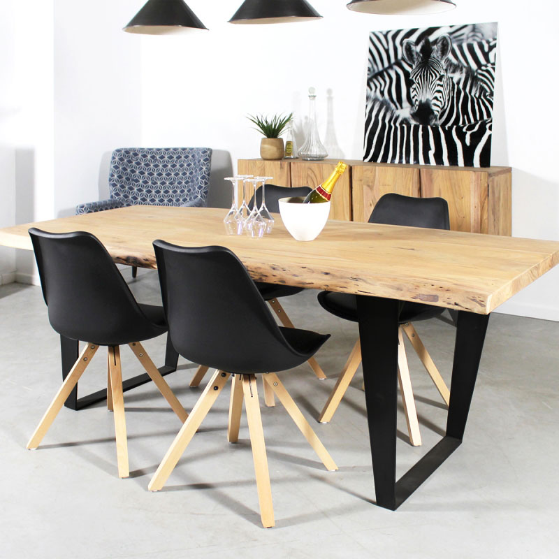 table manger bois massif tronc d arbre pieds en x made in meubles. Black Bedroom Furniture Sets. Home Design Ideas