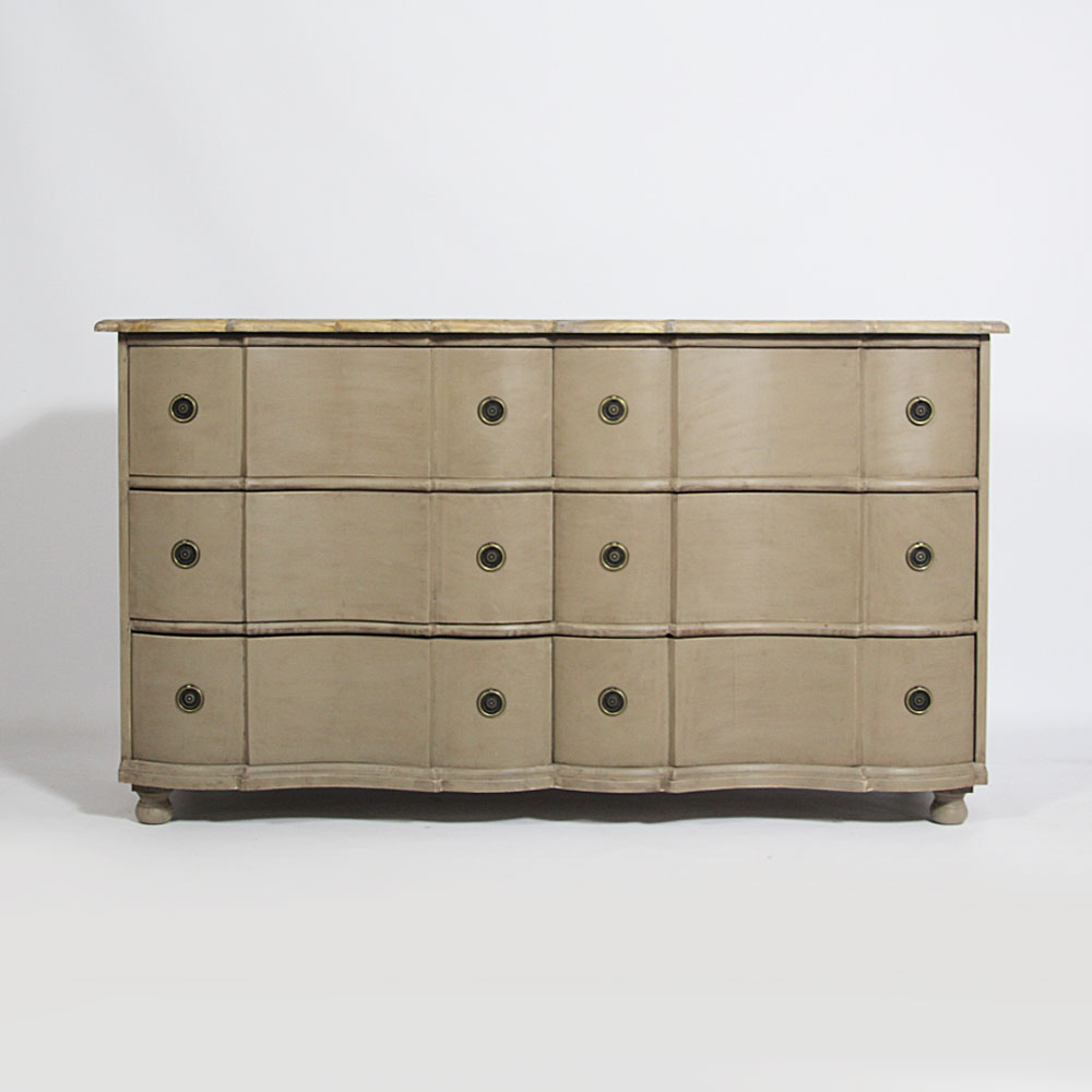 Commode tombeau 6 tiroirs BAROQUE - Taupe