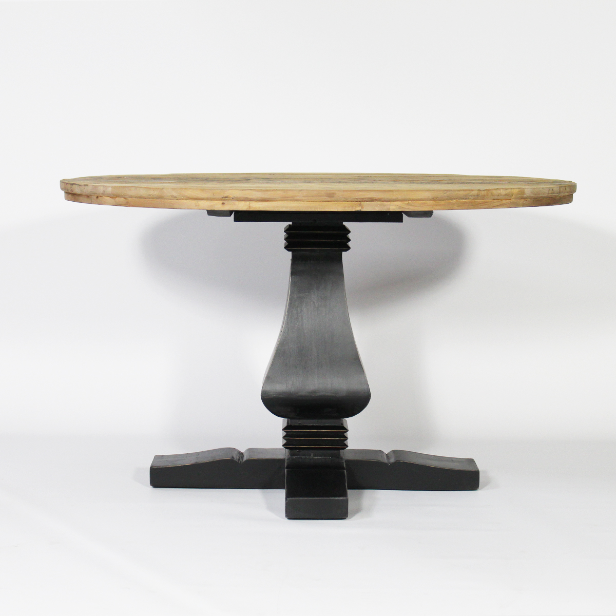 Table ronde baroque pied central en bois noir noir - Table ovale design pied central ...