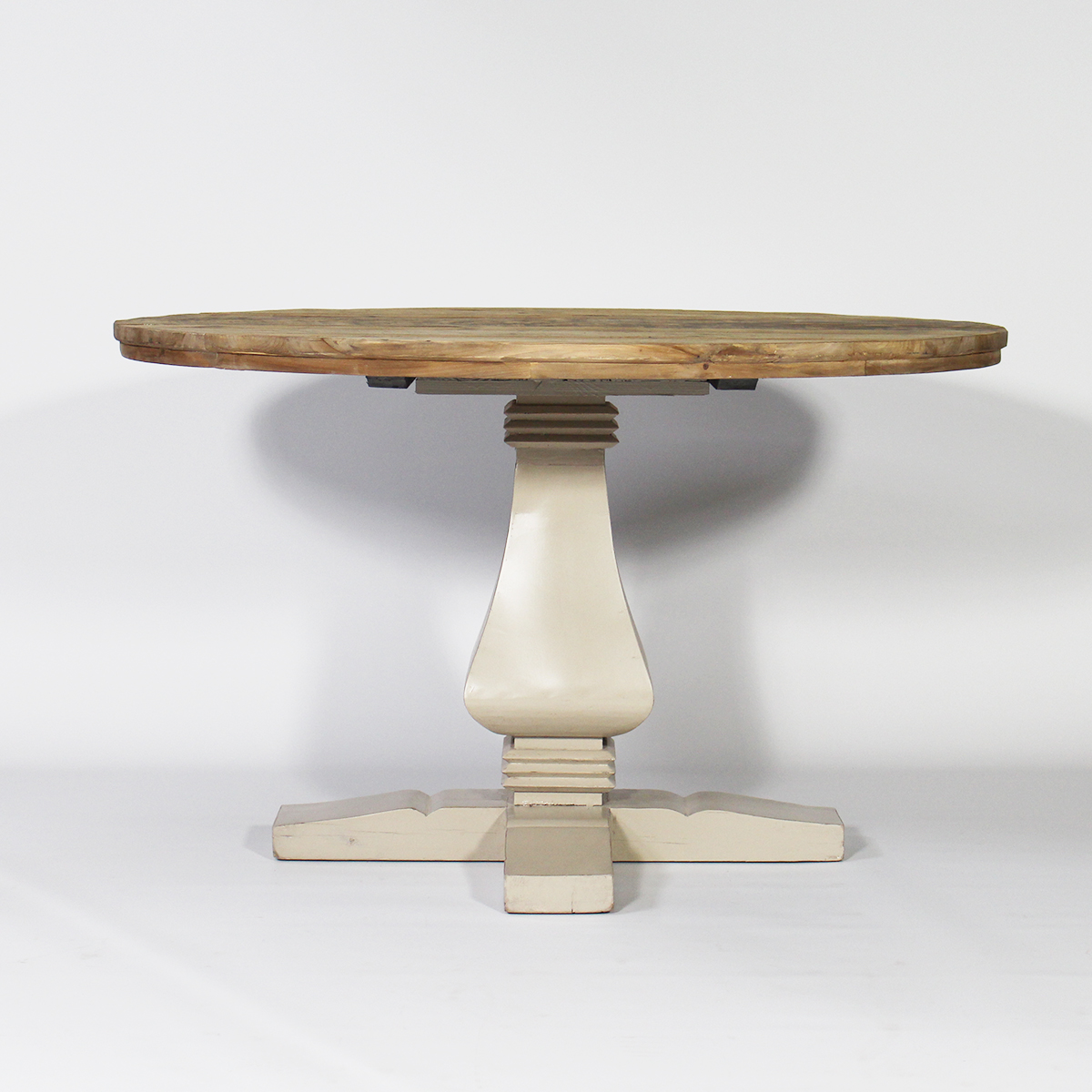 Table ronde baroque pied central en bois taupe taupe for Pietement de table en bois