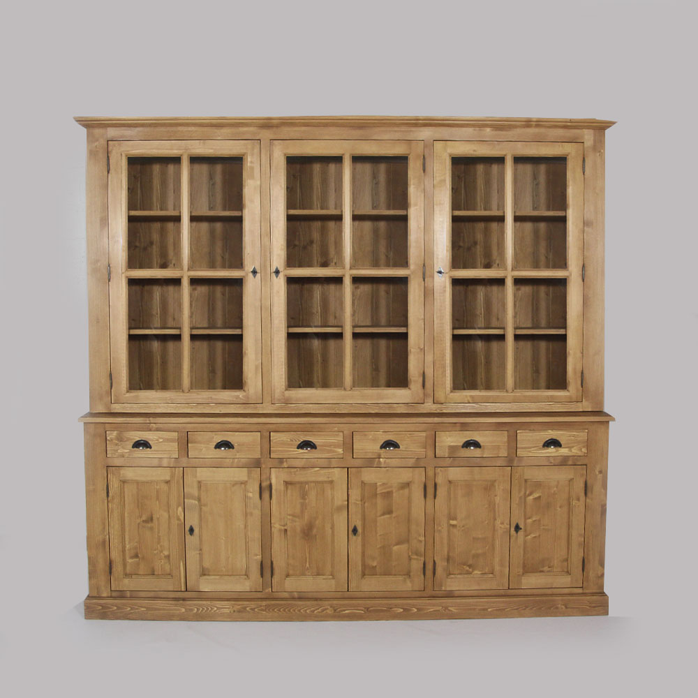 grand bahut vaisselier vitre en bois massif ebay. Black Bedroom Furniture Sets. Home Design Ideas