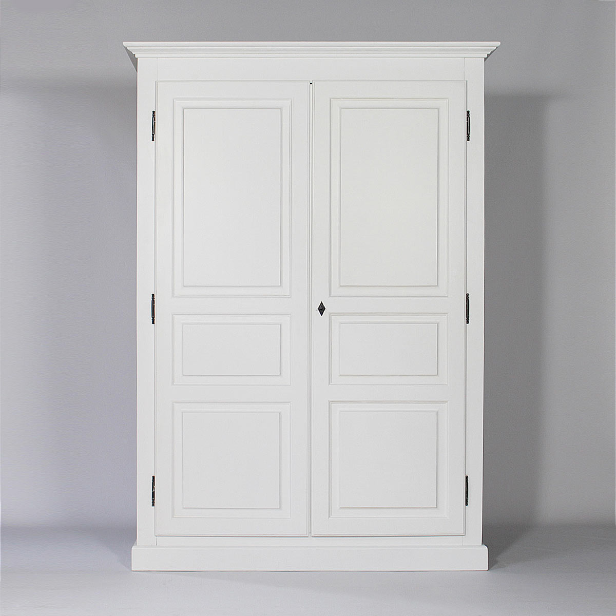 armoire bois massif blanche 2 portes 1 penderie made in meubles. Black Bedroom Furniture Sets. Home Design Ideas
