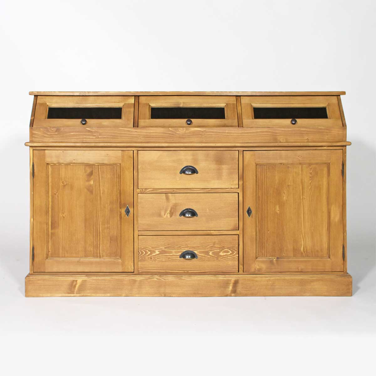 Meuble buffet bas a trappes en pin massif ebay for Meuble pin massif