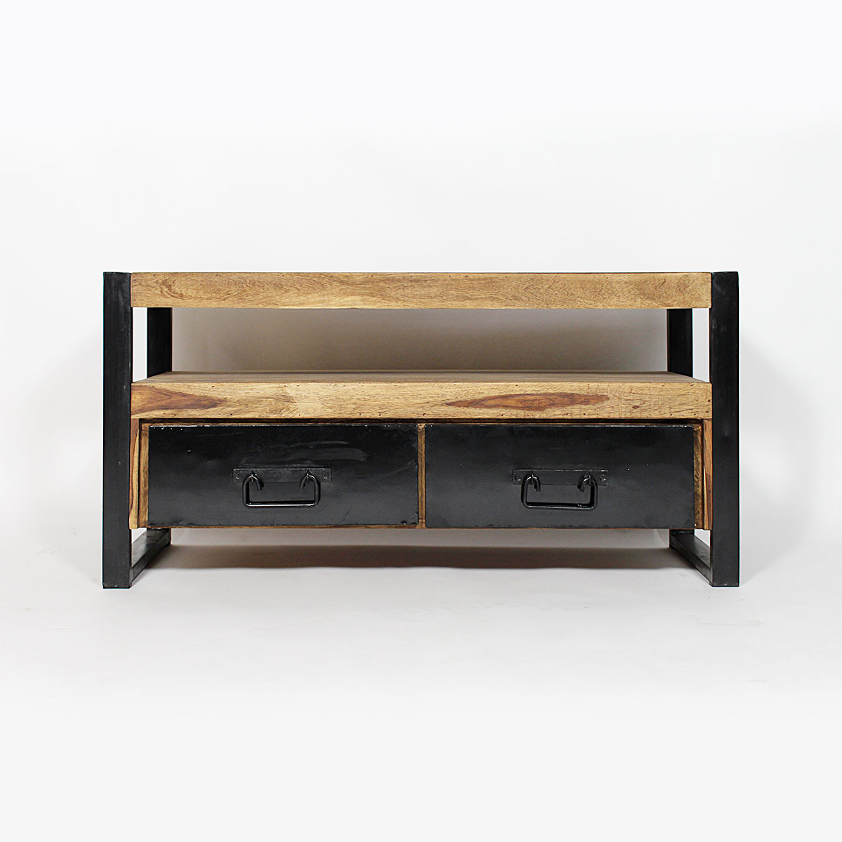 meuble tv industriel 2 tiroirs bois fonc made in meubles. Black Bedroom Furniture Sets. Home Design Ideas