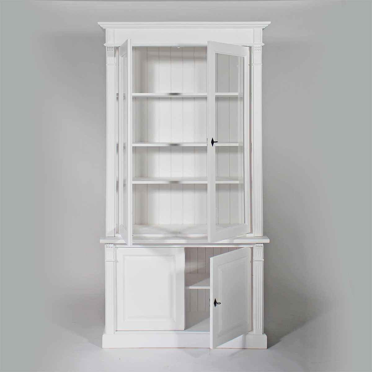 buffet vaisselier bois massif blanc 4 portes made in meubles. Black Bedroom Furniture Sets. Home Design Ideas