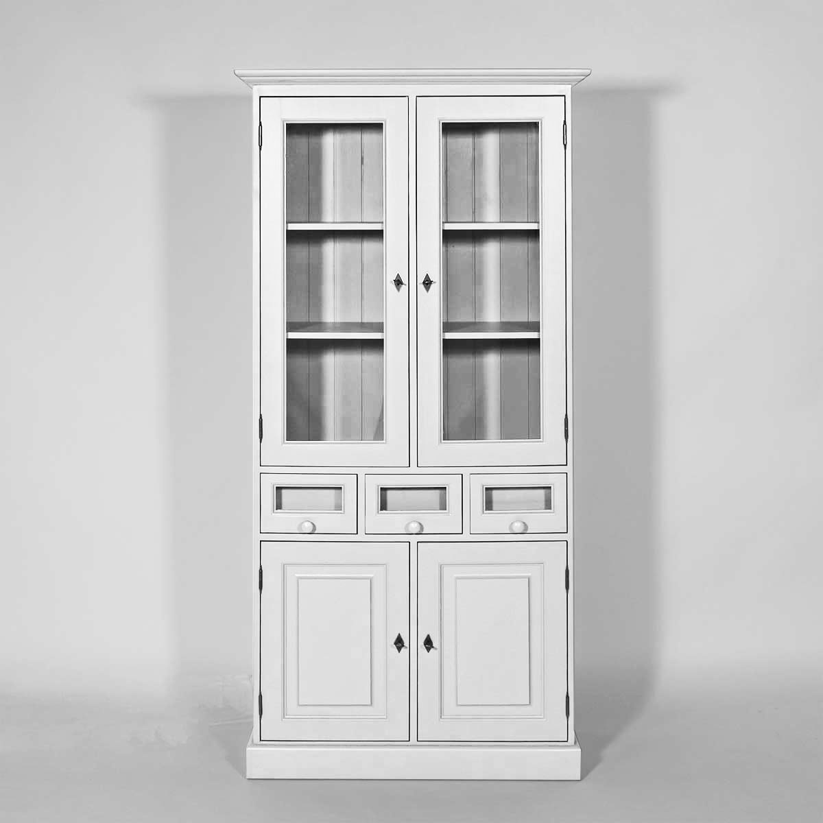 biblioth que bois massif ouverte 6 portes coulissantes noire made in meubles. Black Bedroom Furniture Sets. Home Design Ideas