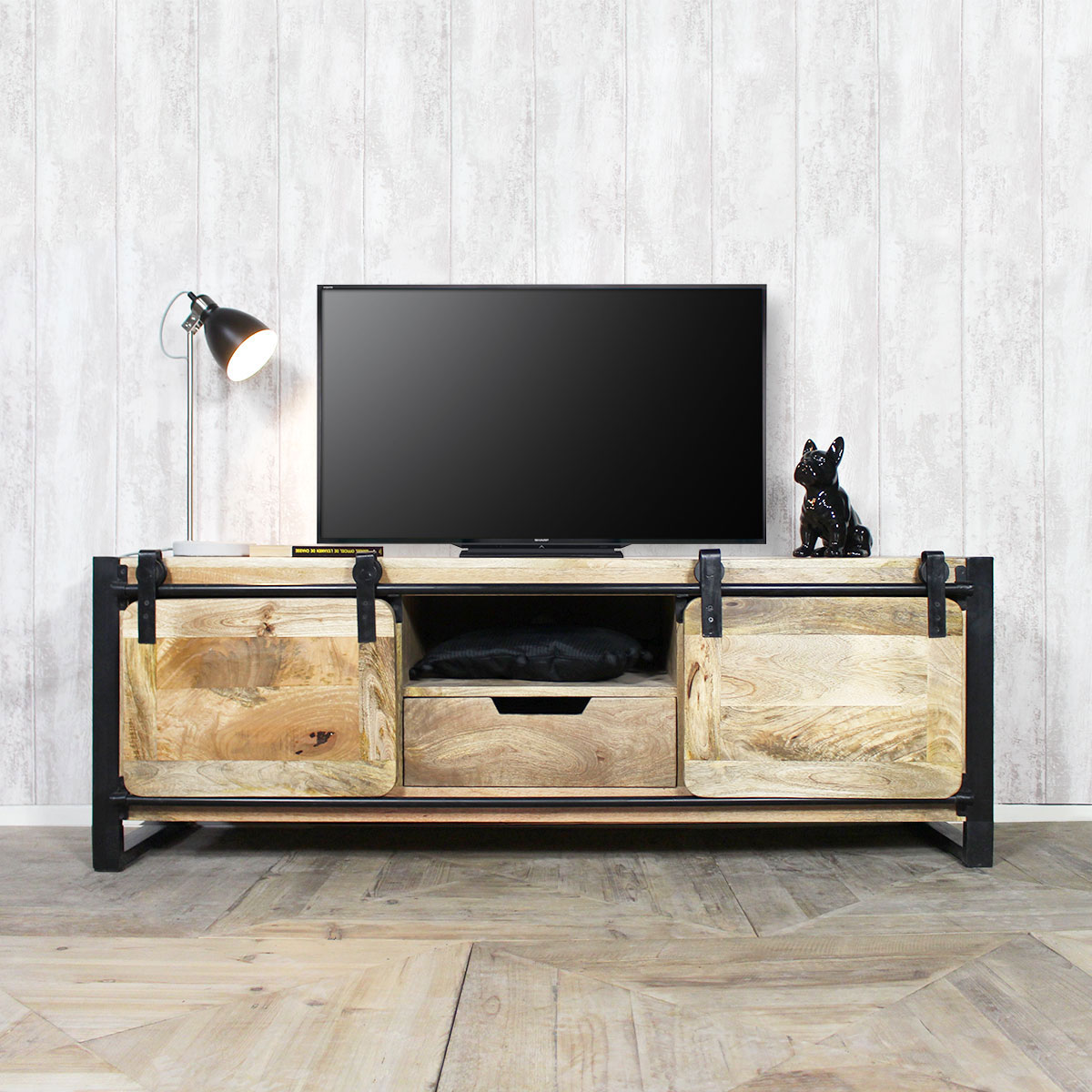 meuble tv industriel bois clair 1 porte made in meubles. Black Bedroom Furniture Sets. Home Design Ideas