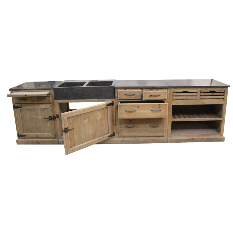 cuisine bois recycl poign es frigo en pin massif made in meubles. Black Bedroom Furniture Sets. Home Design Ideas