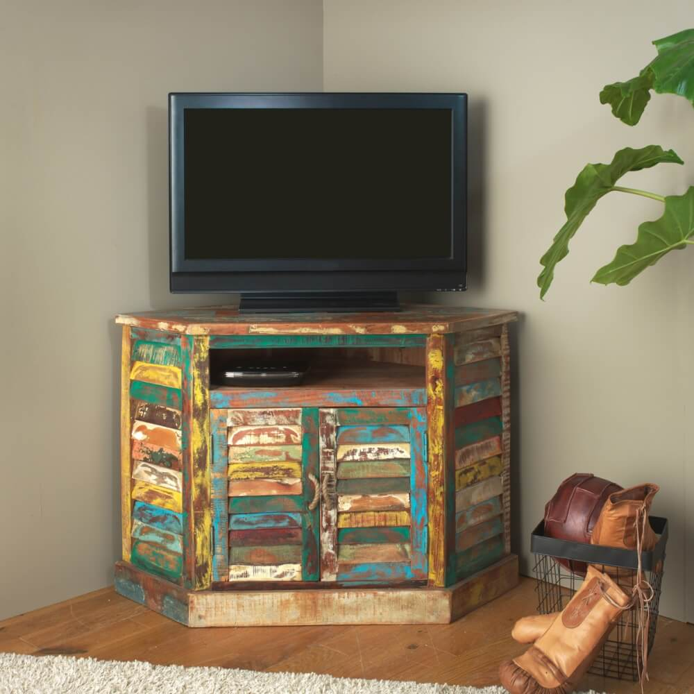 Meuble Tv D Angle Ethnik En Bois Colore Made In Meubles