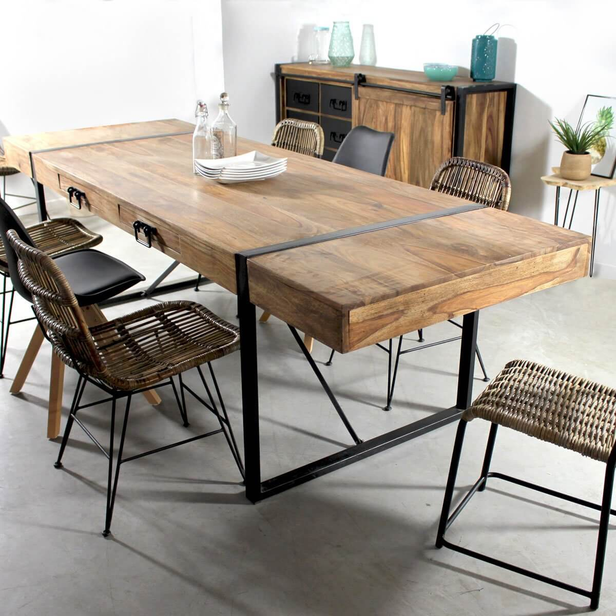 Table A Manger Avec Rallonges Industrielle Made In Meubles